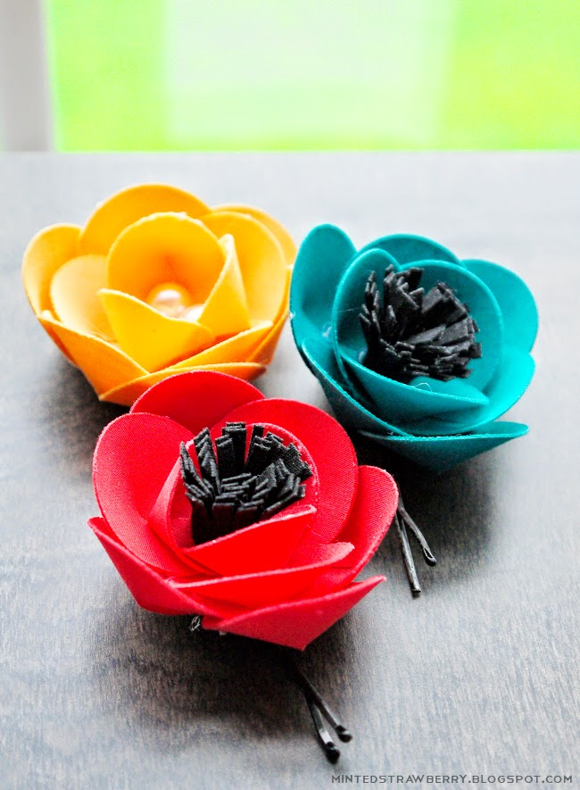 colourful flower hair pins