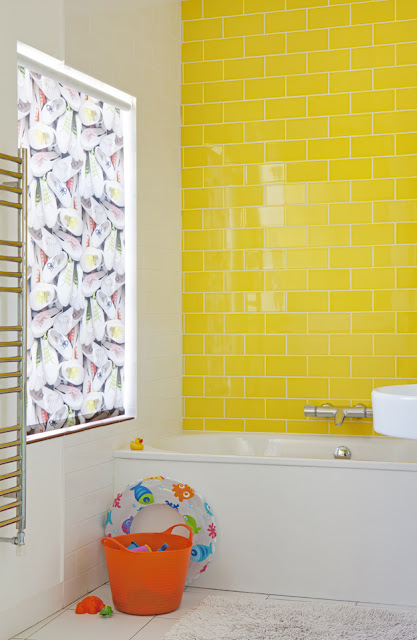 Plimsoles roller blind in bathroom by Ella Doran for Eclectics