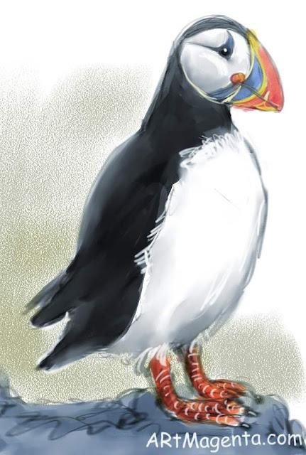 En  fågelmålning av en Lunnefågel från Artmagentas svenska galleri om fåglar.