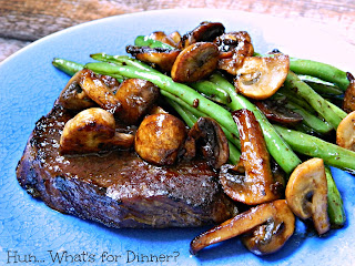 Steak with Mushrooms and Green Beans  from Hun...What's for Dinner?