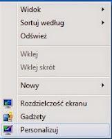 Opcje personalizacji Windows Aero - menu kontekstowe Pulpit.