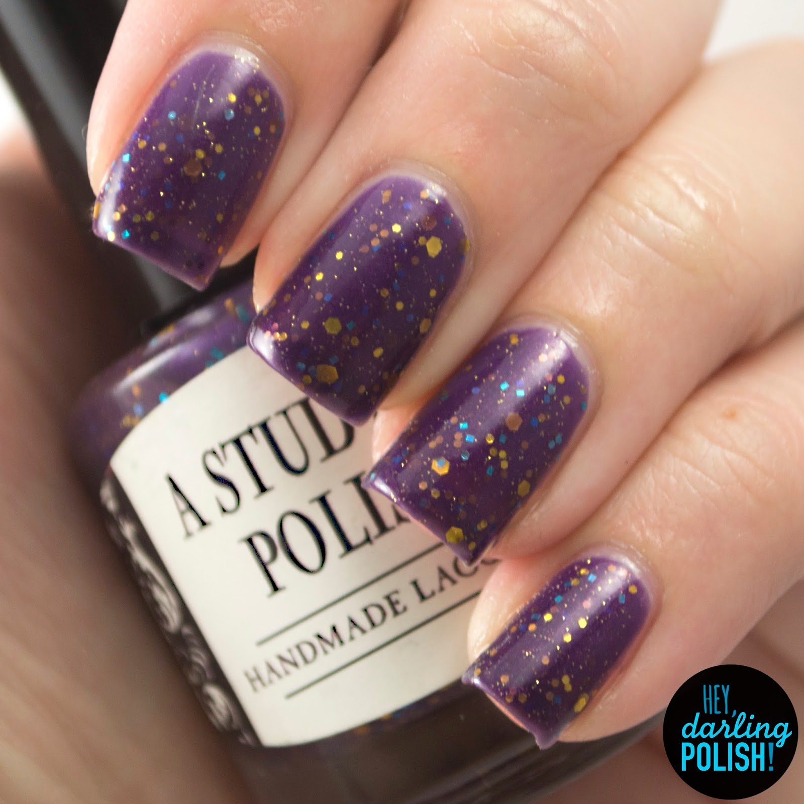 gold, blue, consulting detective, nails, nail polish, polish, indie, indie polish, indie nail polish, purple, glitter, glitter crelliy, a study in polish, hey darling polish