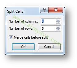 Gambar: Cara menggunakan dialog Split Cells di Microsoft Word 2007 untuk memecah cell dan kolom tabel