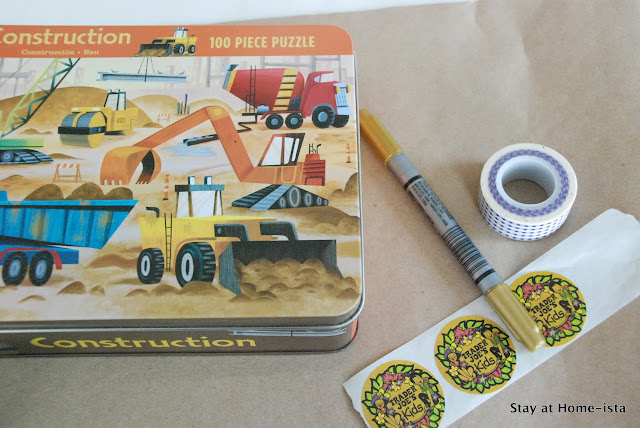 Construction machine puzzle as a gift for a little boy. Wrap in craft paper, add washi tape and stickers and you are done!