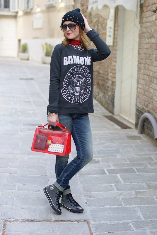 Ramones sweatshirt, Marc by Marc Jacobs see-thru bag