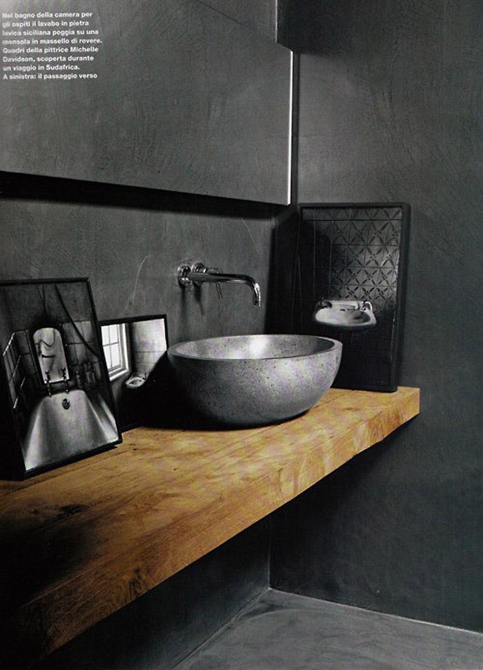 Baldosas Baño Grises:revestimiento baños microcemento-encimera de madera rustica