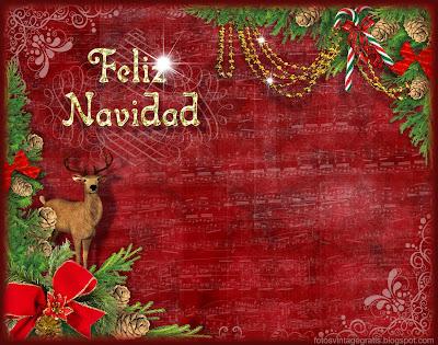 navidad vintage con ciervo
