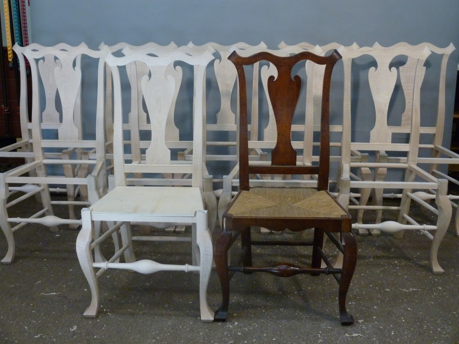 18th Century Philadelphia Side Chairs rush seat