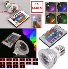 Lâmpada Eletrônica LED 16 Cores 3 w – RGB com Controle Remoto