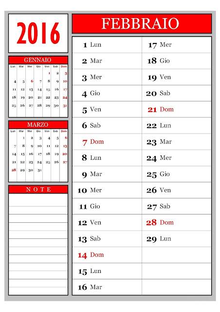 Calendario mensile - Febbraio 2016