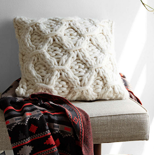 White Chunky Cable Knit Pillow Urban Outfitters