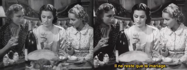 """Zwei Screenshots ein- und derselben Szene mit unterschiedlichen Untertiteln, links: """"match"""" (automatische Spracherkennung von """"marriage"""")"""