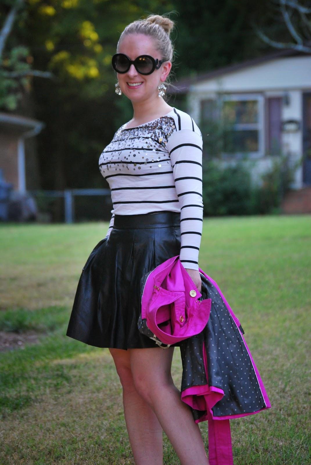 pleated leather skirt, christian louboutin, pigalle, brenton stripe