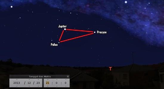 Lihat Segitiga Jupiter-Pollux-Procyon Malam Ini