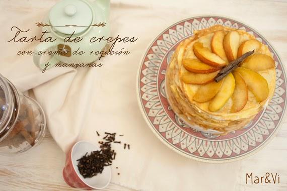 receta tarta de crepes con crema de queso y manzanas