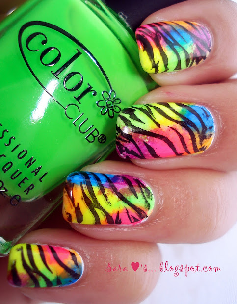 reader request - neon zebra nails