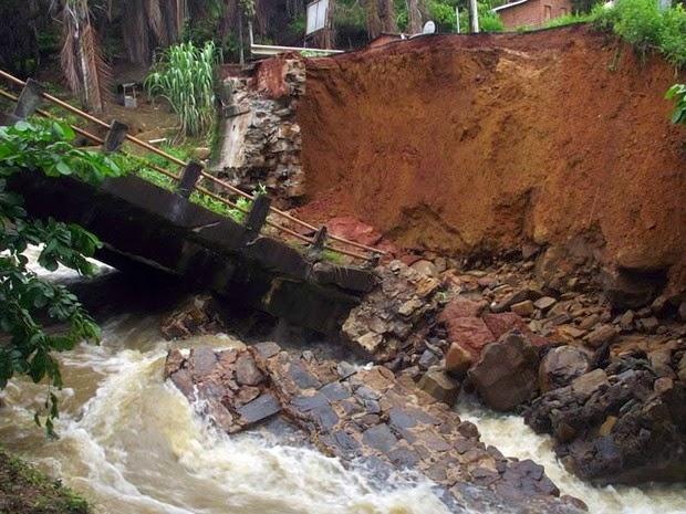 Ponte desabou e fechou acesso a cidade de Ituberá (Foto: Divulgação/Prefeitura Municipal de Ituberá)