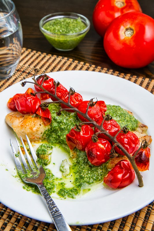 Parmesan Crusted Pesto Tilapia with Roasted Tomatoes