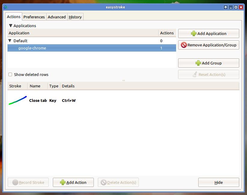 EasyStroke di Ubuntu 11.10 Oneiric Ocelot (XFCE)