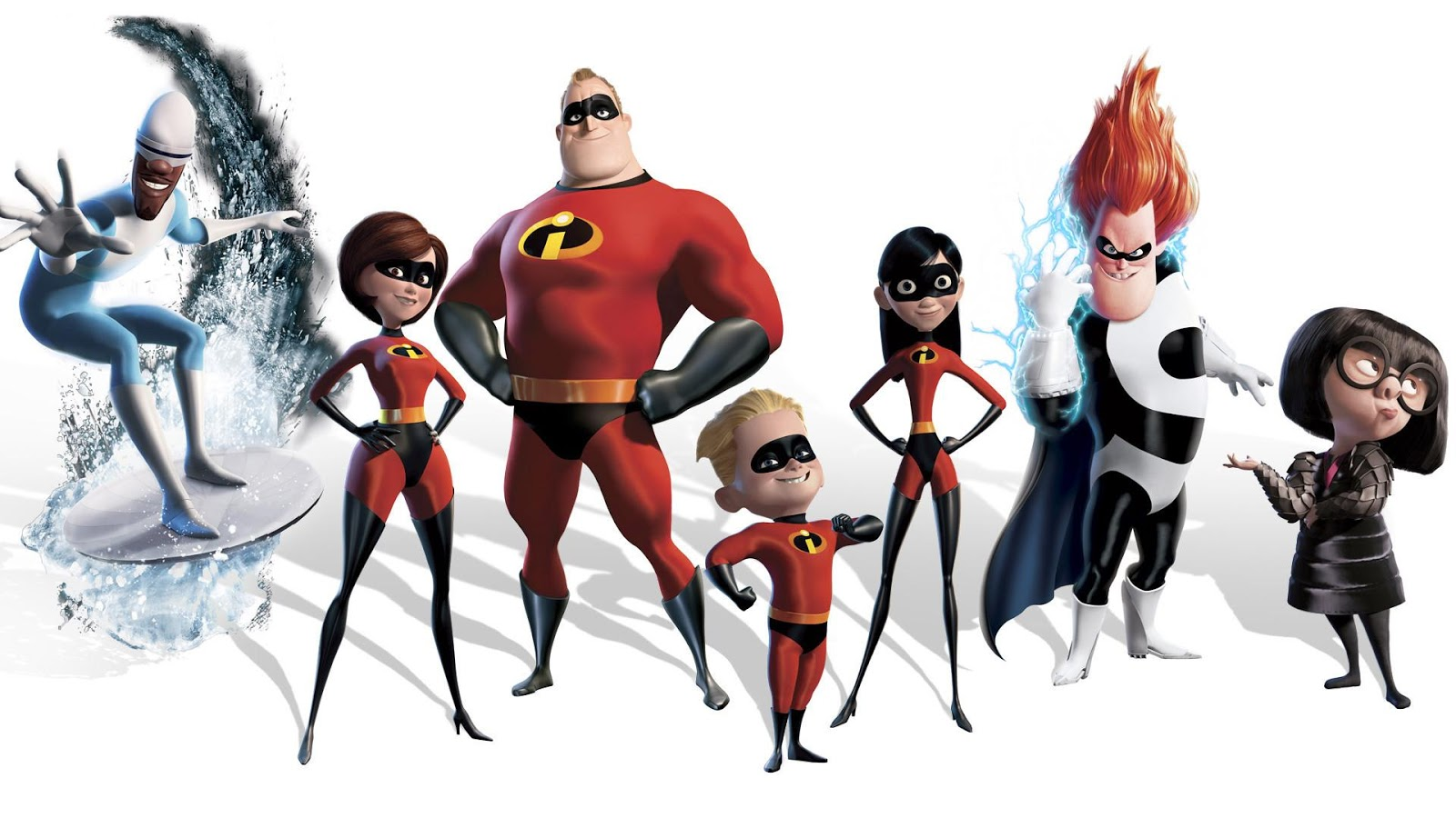 The Incredibles family posing with the villains