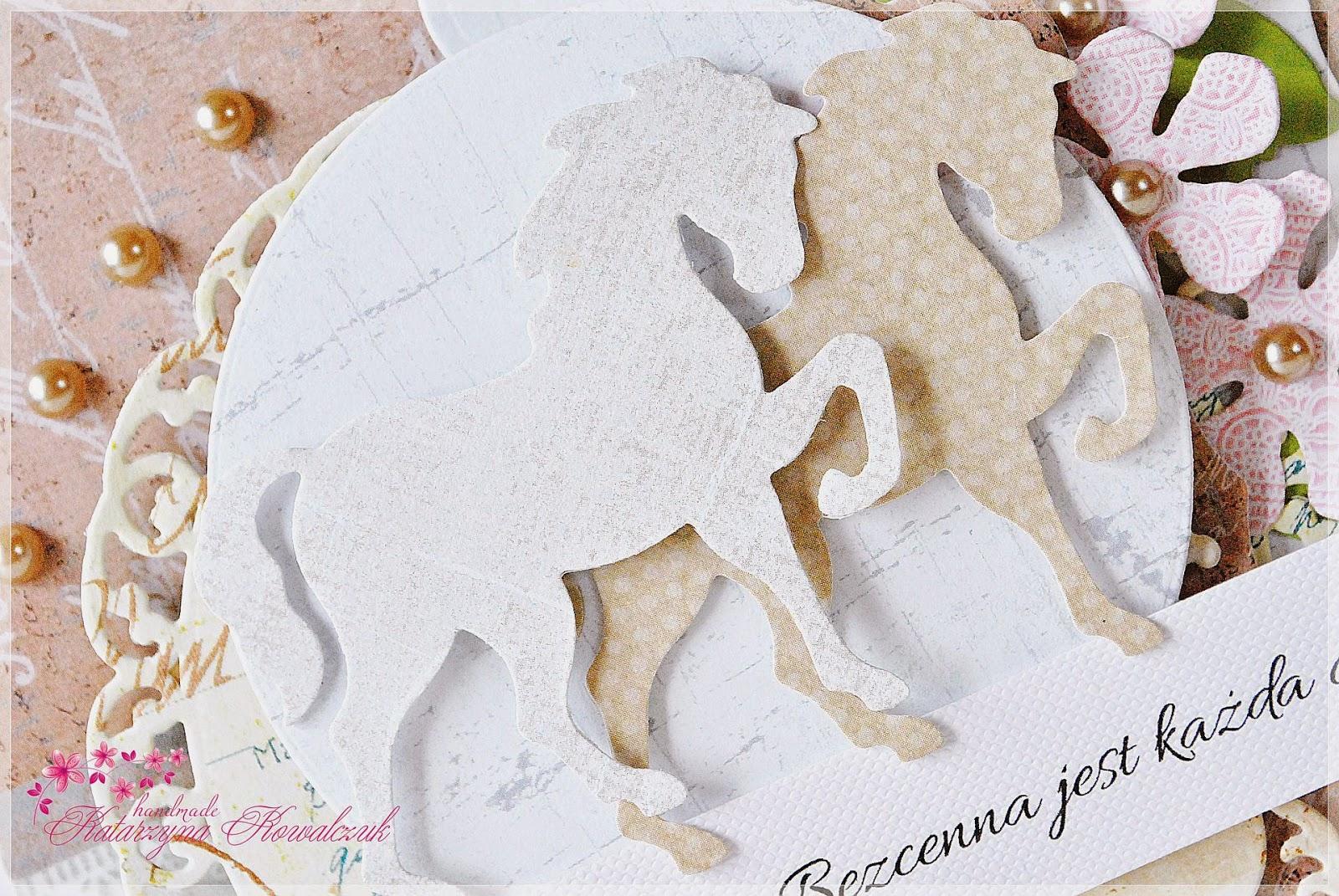 kartka z koniem scrapbooking