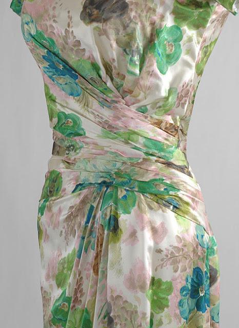 1950's Ceil Chapman Draped Floral SIlk Cocktail Dress