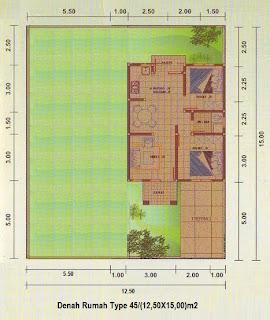 Denah rumah type 45 halaman luas