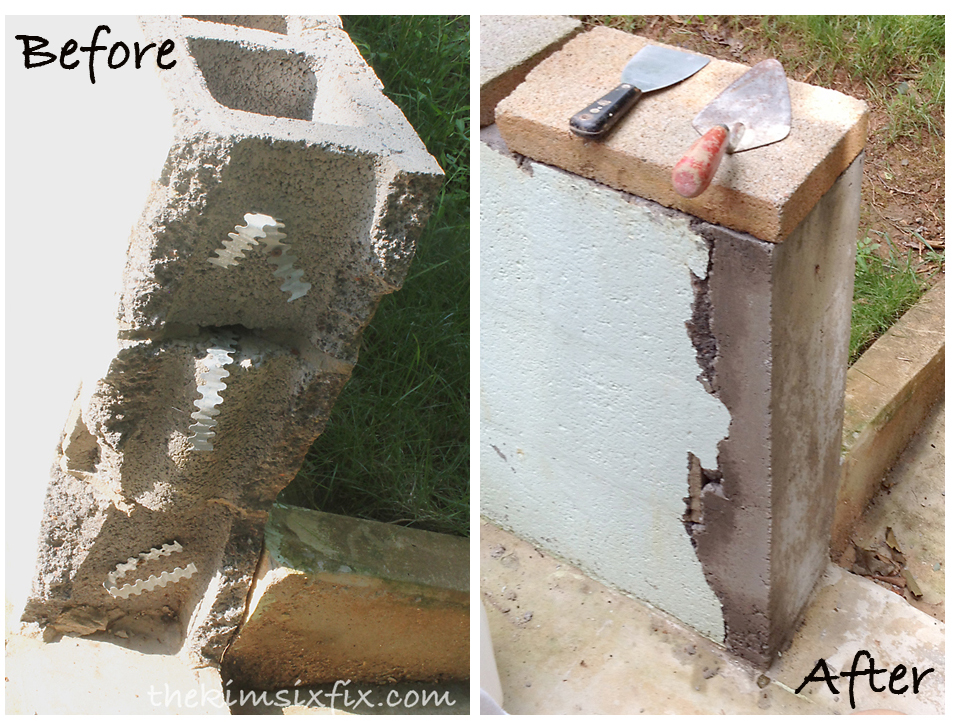 Masonry 101 How To Repair A Concrete Cinder Block Wall The Kim Six Fix