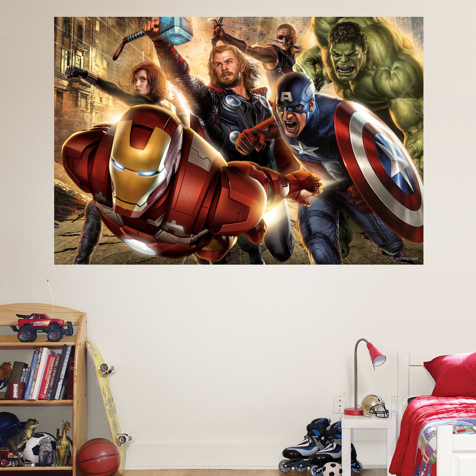 World wide blog of movies the avengers mural from fathead for Avengers mural poster