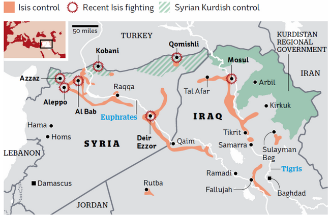 Areas under ISIS control and conflict (Institute for the Study of War/the i paper)