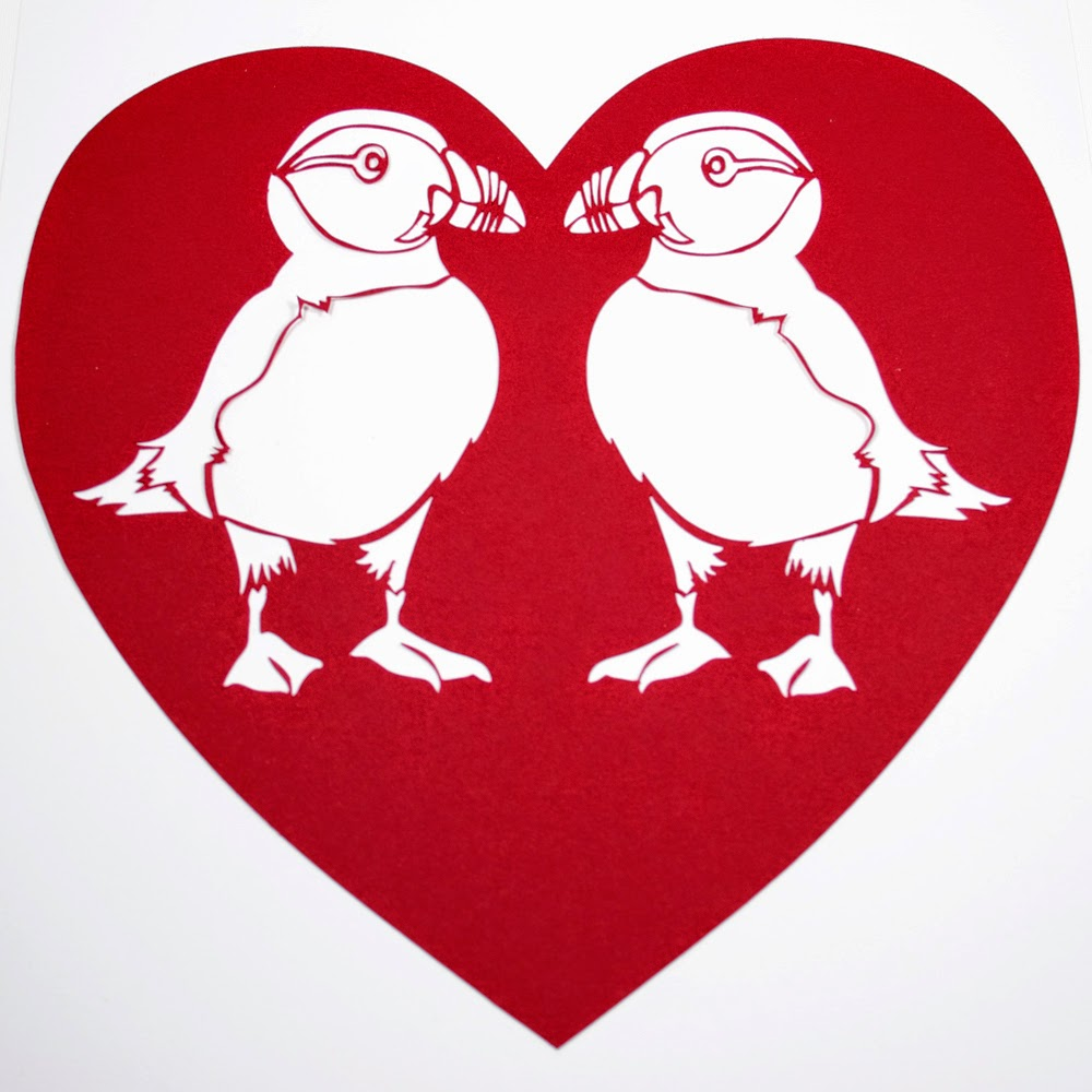 Puffin Heart Papercut