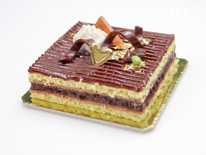 Chocolate opera cake in miniature