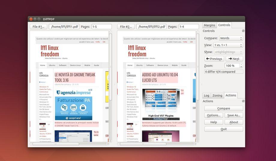 DiffPDF in Ubuntu