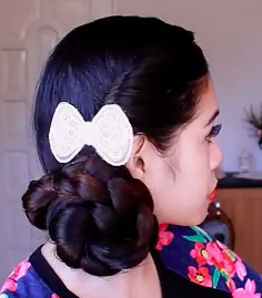 Valentines Day Low Braided Bun Undo Hairstyle Tutorial