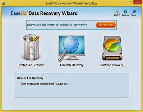 تحميل برنامج إستعادة الملفات والبيانات المحذوفة المميز مجاناً EaseUS Data Recovery Wizard Free 6-1