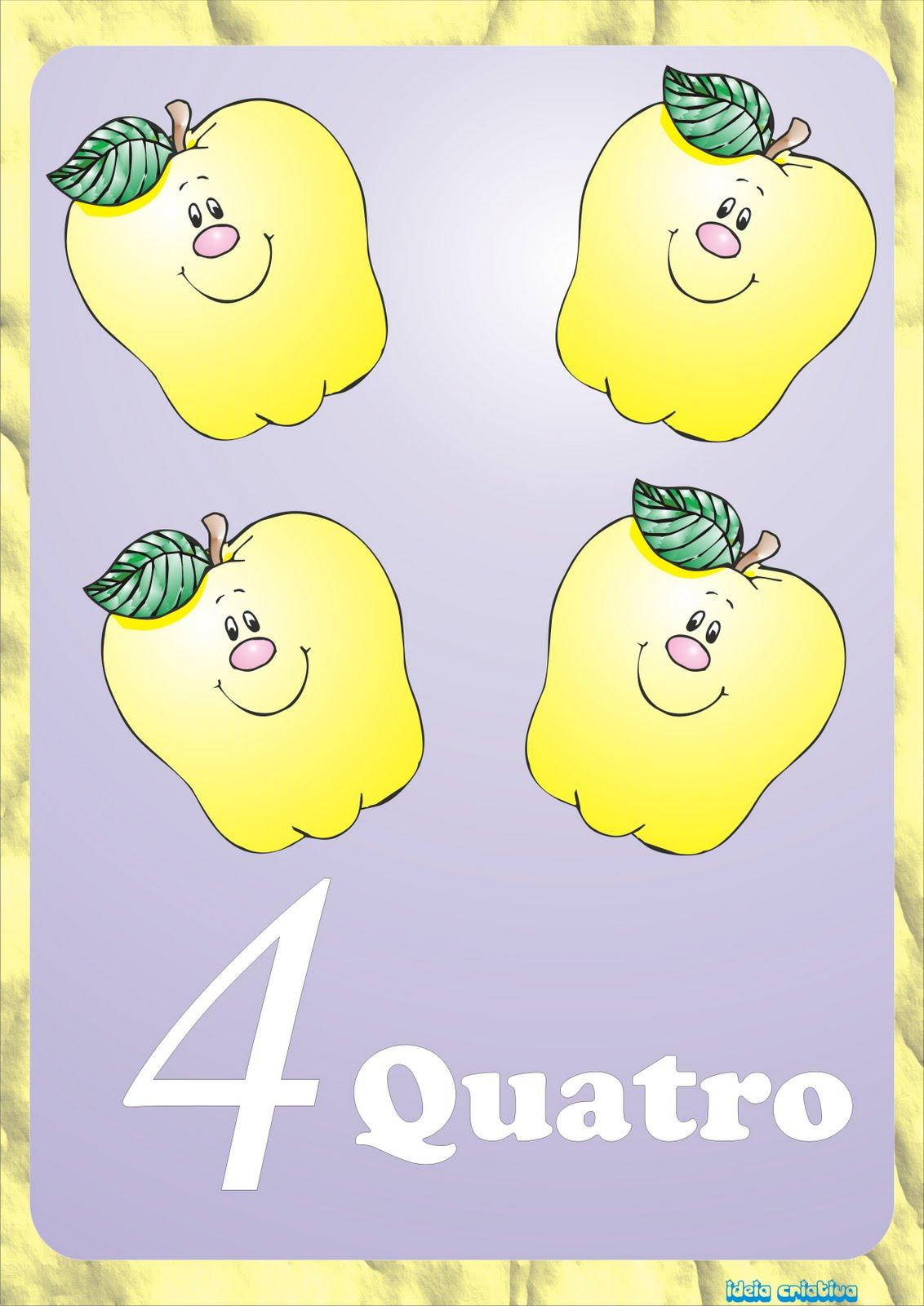 Cartazes com Números Ilustrados  Maçãzinhas para Imprimir Grátis