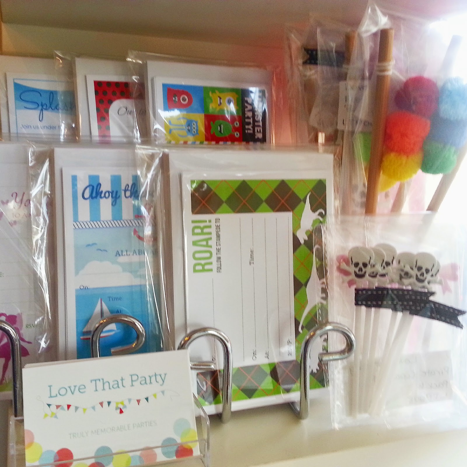 children's birthday party invitation packs in retail store