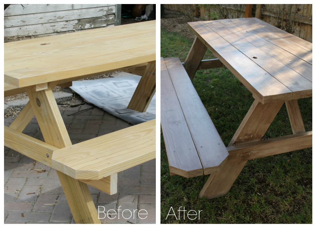 Outdoor Dining For Under City Farmhouse - How to stain a picnic table