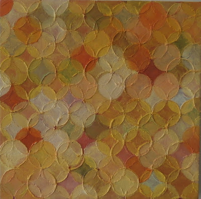 kate mackay, oil on canvas, circle painting, yellow, non objective, geometric abstraction, factory 49, miami