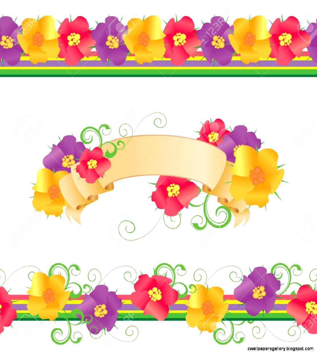 Flowers And Butterflies Borders Vector Isolated On White For