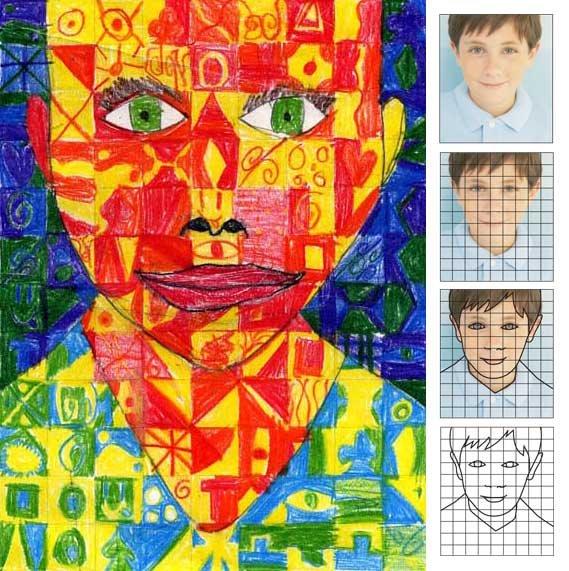 Calendar Art Ideas For Kids : Chuck close self portrait