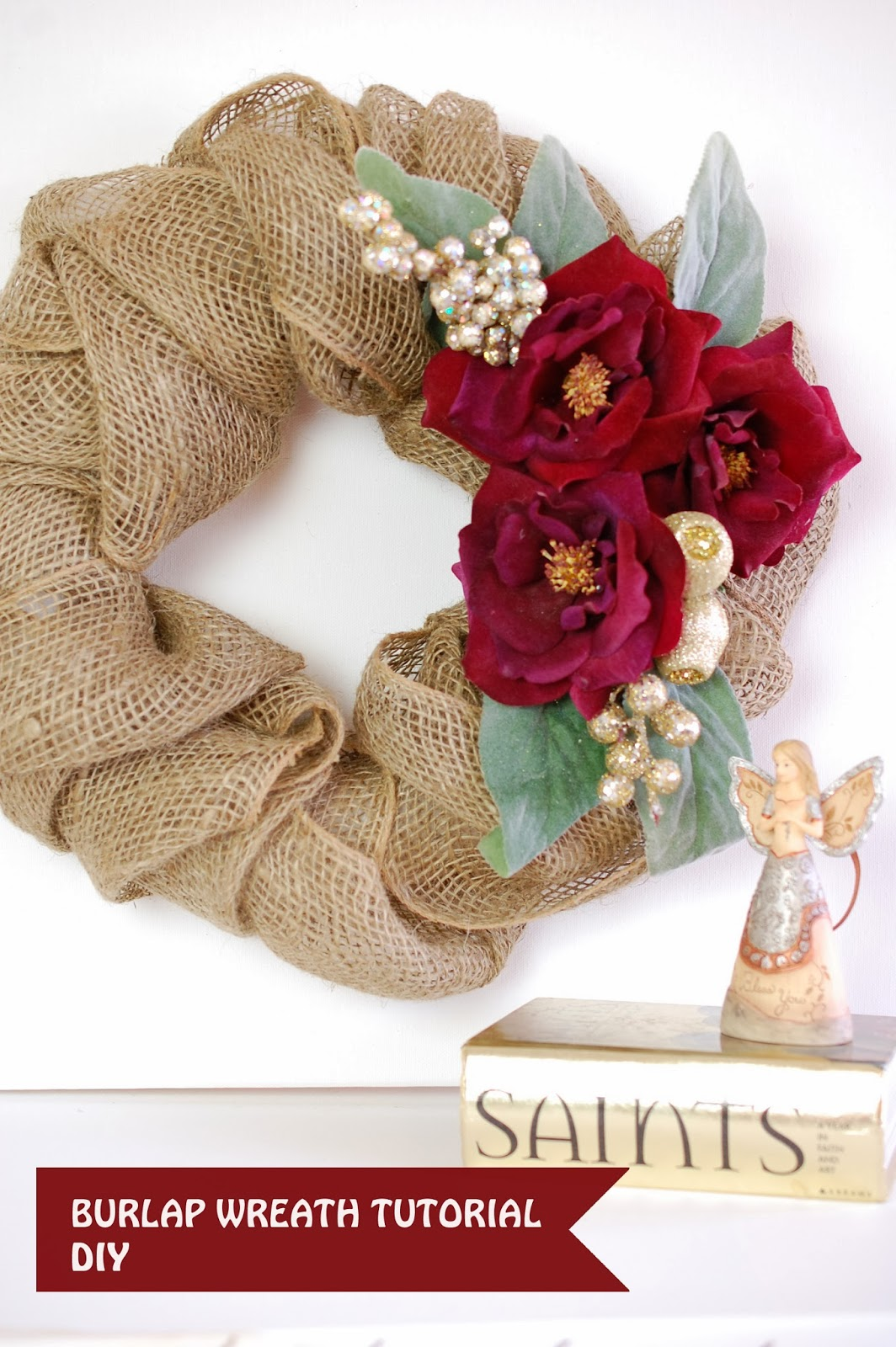 Burlap christmas wreath tutorial handmade paper flowers Burlap xmas wreath