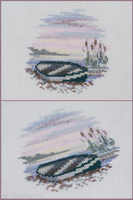 Derwentwater, вышивка лодка, вышивка миниатюра, Rowing Boat