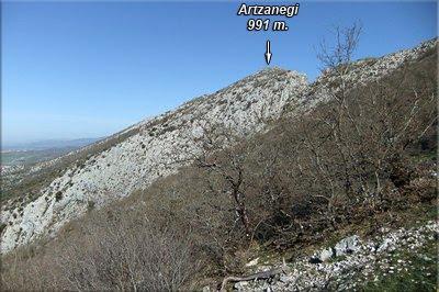 Artzanegi visto durante el ascenso