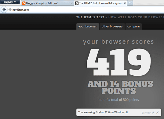 Firefox Nightly HTML5 scores