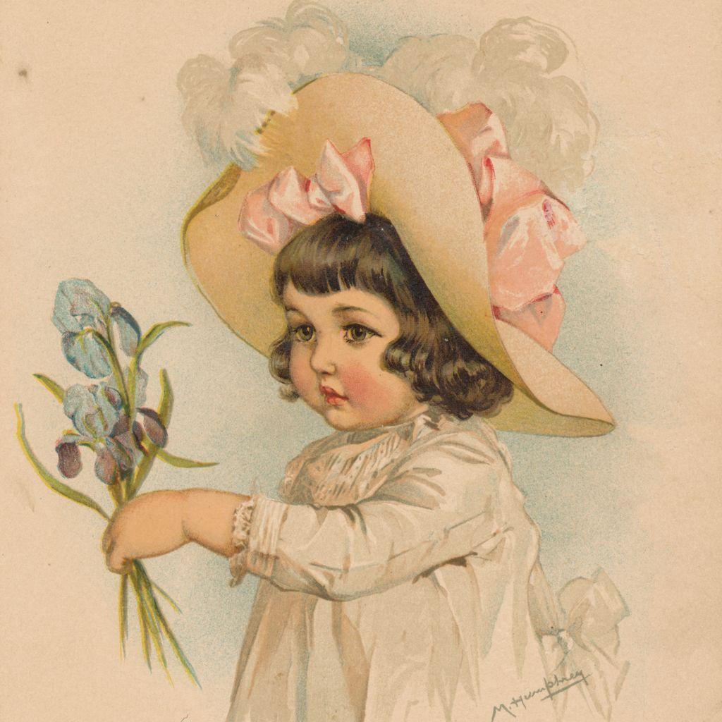 Девочка на старинных открытках 457