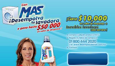 premios hasta $50 000 mil pesos en vales de despensa  lavadoras cada semana promocion detergente mas color Mexico 2011