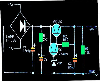 regulated high current ripple free power supply circuit using 2n3055 complementary paired