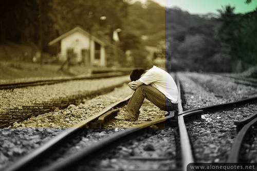 sad broken heart emo boy on rail way