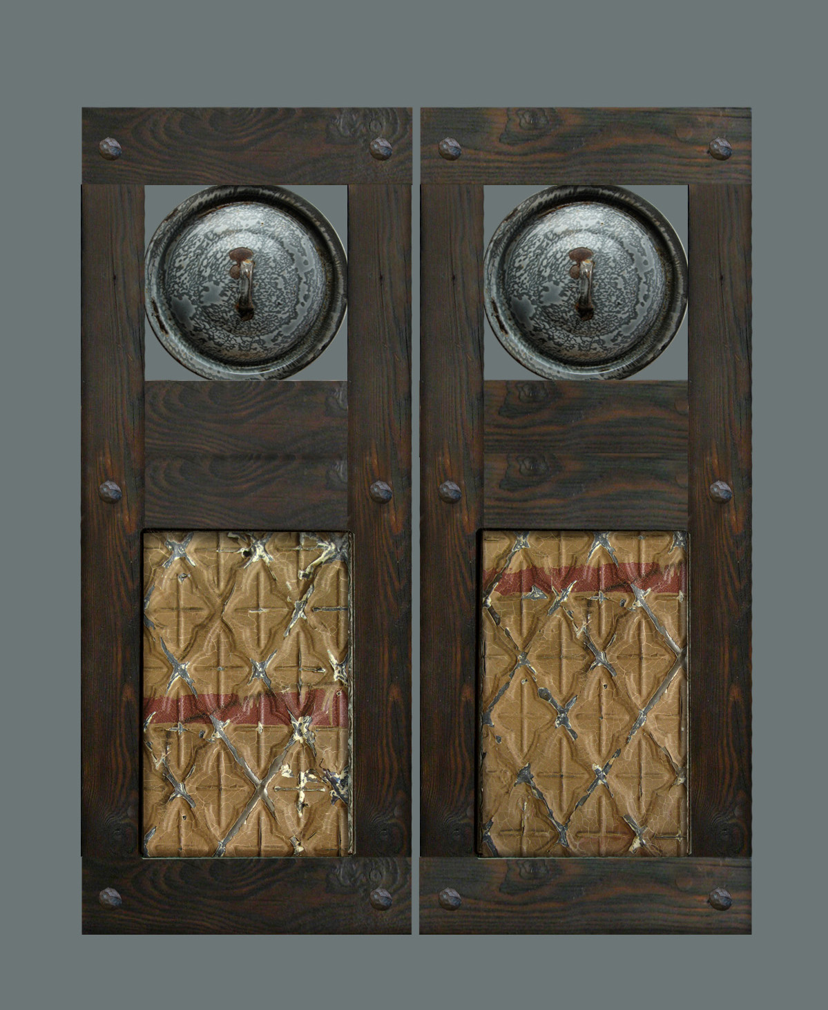 Handcrafted custom swinging saloon doors - Handcrafted Swinging Saloon Doors With Vintage Enamel Pot Lids And Victorian Tin Ceiling Panels